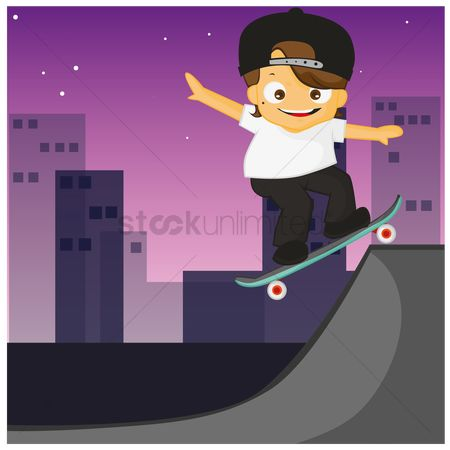 Skateboard : Boy doing stunts on skates