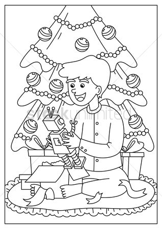 Cartoon : Boy enjoying christmas gifts