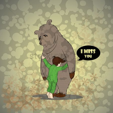 Bear : Boy hugging a bear