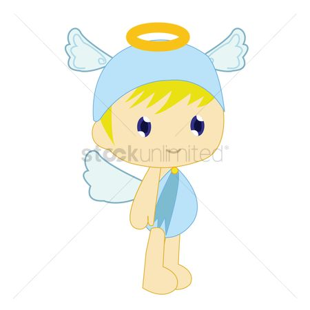 Halo : Boy in angel costume on white background