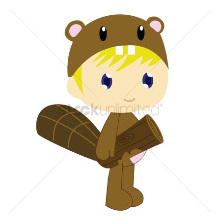 Logs : Boy in beaver costume on white background