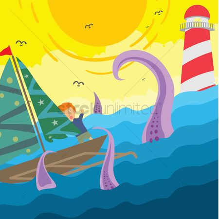 Lighthouses : Boy in boat scared of sea monster