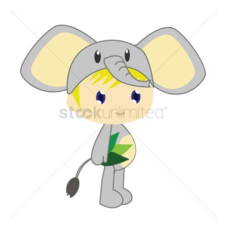 Background : Boy in elephant costume on white background