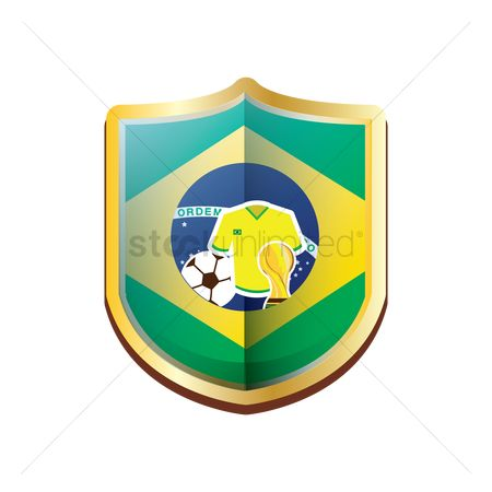 Pentagons : Brazil badge with football items