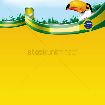 Brazil : Brazil flag with toco toucan