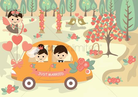 Romance : Bride and groom in wedding car