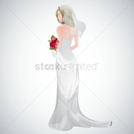 Backview : Bride holding bouquet