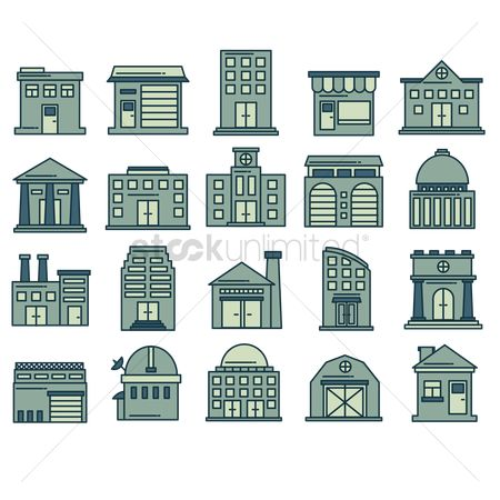 State : Building icon set