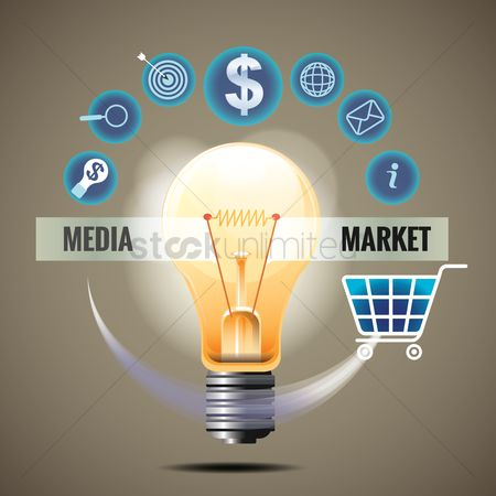 Shopping cart : Bulb with media marketing