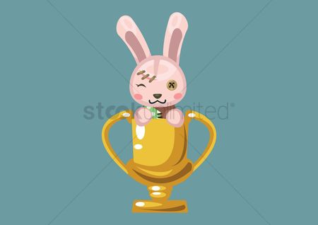 Hare : Bunny and trophy