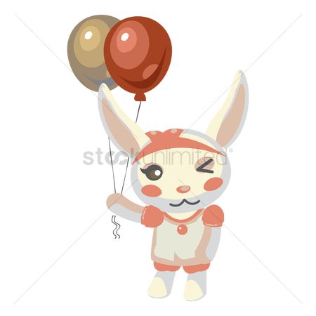 Hare : Bunny holding balloons