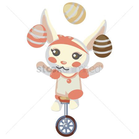 Hare : Bunny on unicycle while juggling eggs