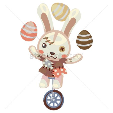 Hare : Bunny on unicycle with juggling eggs