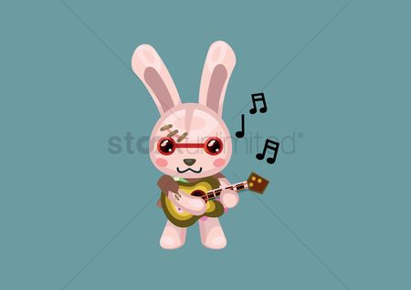 Hare : Bunny playing a guitar