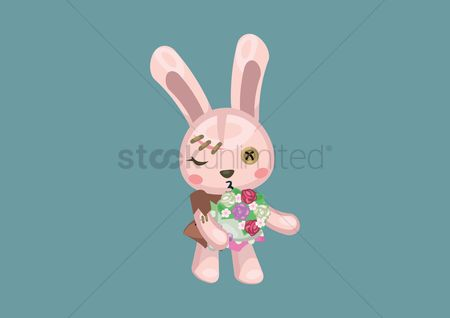 Hare : Bunny with flower bouquet