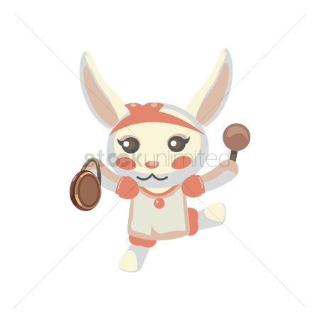 Hare : Bunny with hand drum