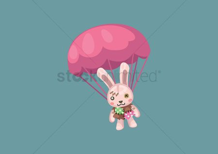 Hare : Bunny with parachute