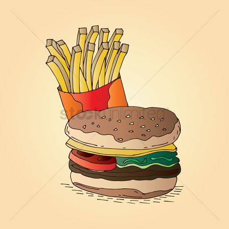 French fries : Burger and french fries
