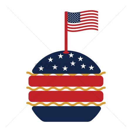 Binge : Burger with usa flag
