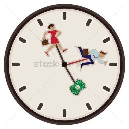 Minute : Business man and woman running after money in a clock