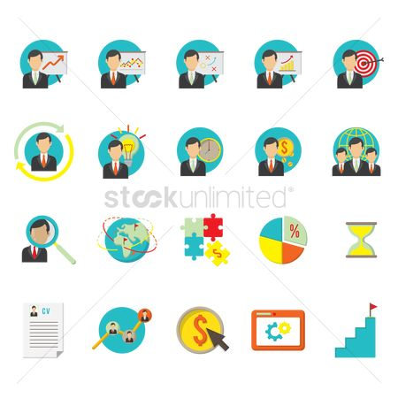 Dartboards : Business strategy icon set