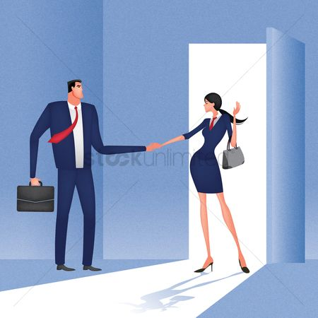 Open : Businessman and businesswoman shaking hands