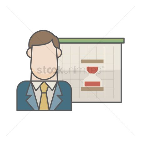 Sand clock : Businessman and hourglass