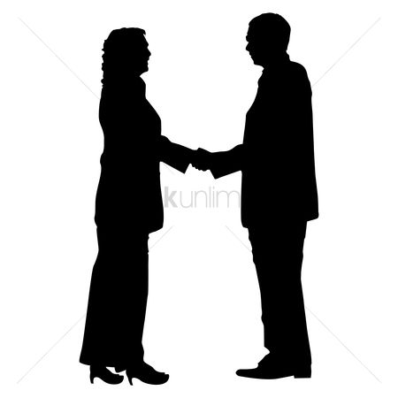 Business deal : Businessman and woman shaking hands silhouette