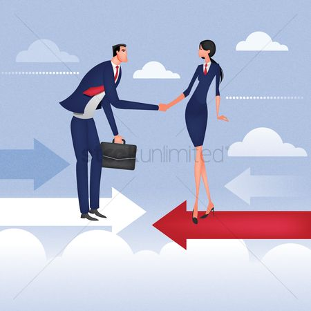 Lady : Businessman and woman shaking hands