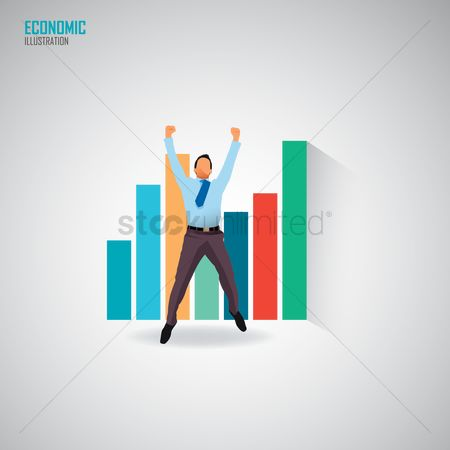 Cheering : Businessman cheering with graphs in the background