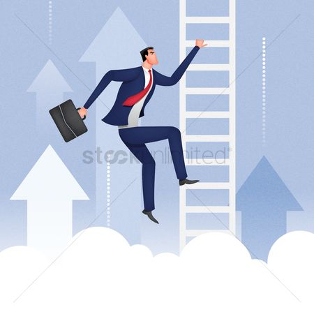 Achievement : Businessman climbing up the ladder