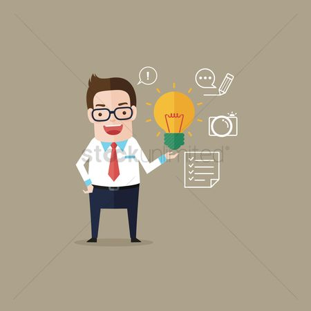 Checklists : Businessman holding a bulb