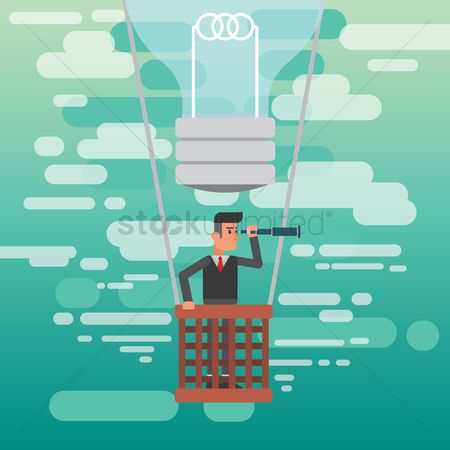 Workers : Businessman holding a telescope