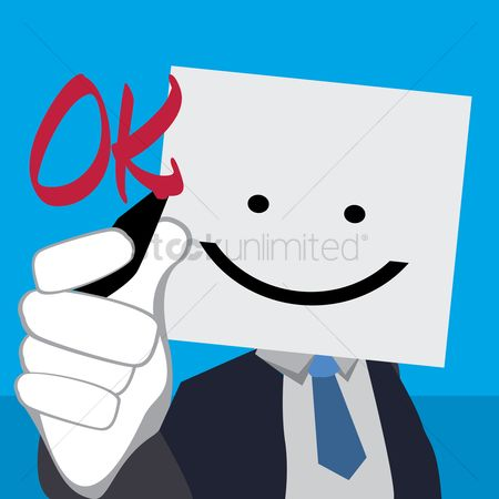 Billboards : Businessman holding billboard with happy face