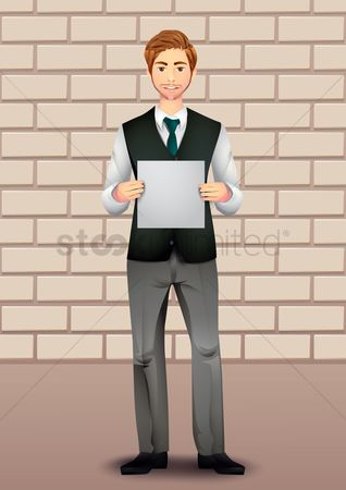 Brick : Businessman holding blank paper
