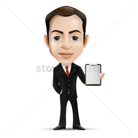 Businesspeople : Businessman holding clipboard
