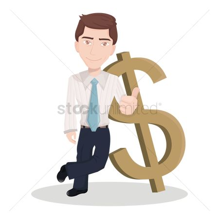 Currencies : Businessman leaning against dollar sign