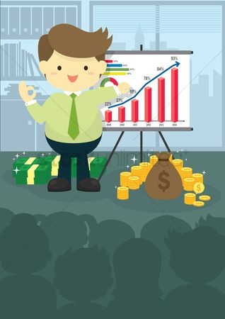 Increase : Businessman presenting financial chart