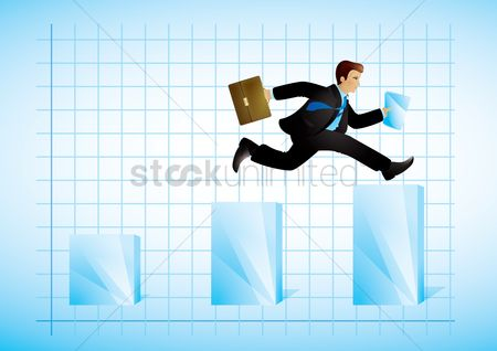 Productivity : Businessman reaching business goals concept