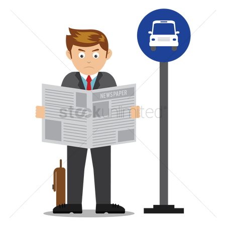 Smart : Businessman reading newspaper