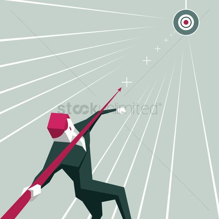 Career : Businessman throwing arrow