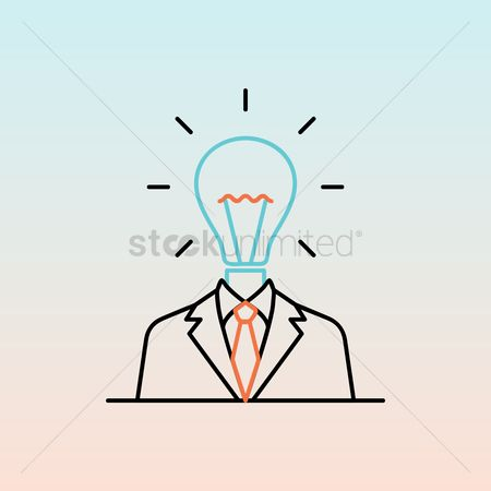 Halogen : Businessman with bulb head