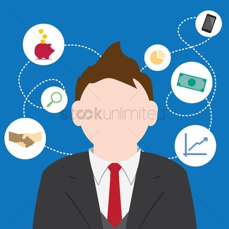 Business deal : Businessman with business icons