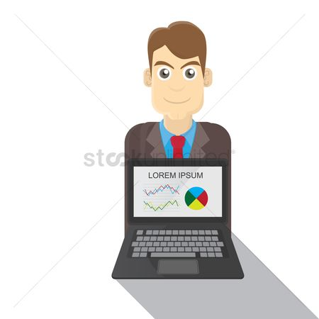 E commerces : Businessman with laptop