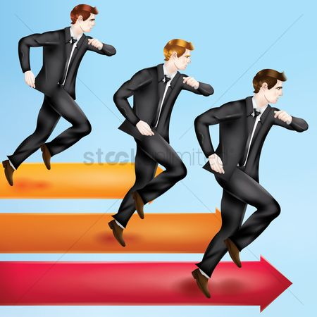 Increase : Businessmen moving forward concept