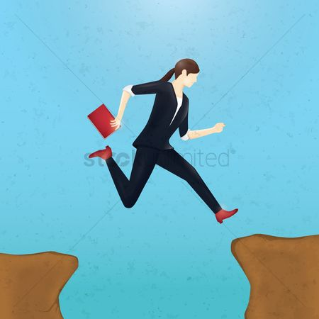 Productivity : Businesswoman taking a business leap concept