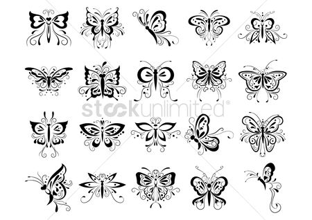 Spring : Butterfly tattoo set