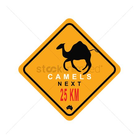 Beware : Camels in 25km ahead sign