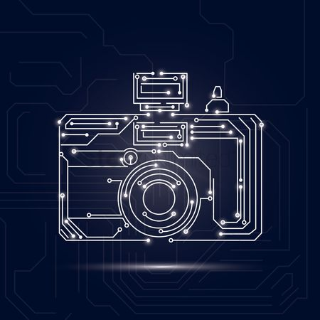 Photography : Camera design on circuit board background