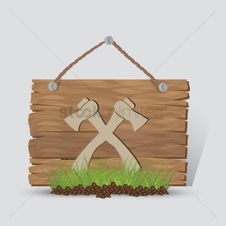Wooden sign : Camping axe sign